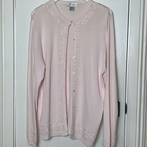 Dress barn size Lg blush pink cardigan sweater